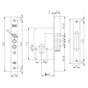 Корпус замка врезного цилиндрового Kale 189/3M (45 mm) w/b (латунь)
