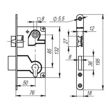 Замок межкомнатный под цилиндр. механизм (бронза) с отв. планкой Armadillo LH 25-50 AB BOX