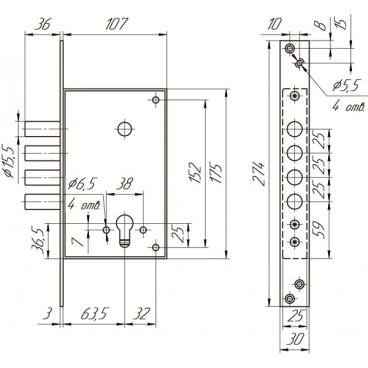 Замок врезной цилиндровый Меттэм ЗВ1 711.0.0