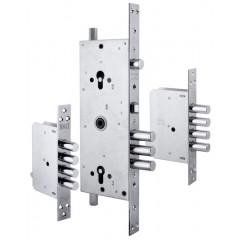 Корпус замка врезного двухцилиндрового Kale 256 w/b с девиаторами, тягами и броней в комплекте (никель)