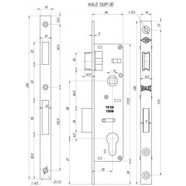 Корпус замка врезного цилиндрового узкопроф. Kale 153/P (30 mm) w/b (никель)