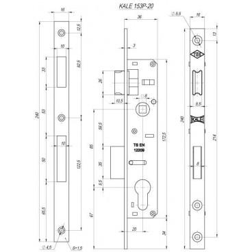 Корпус замка врезного цилиндрового узкопроф. Kale 153/P (20 mm) w/b (никель)