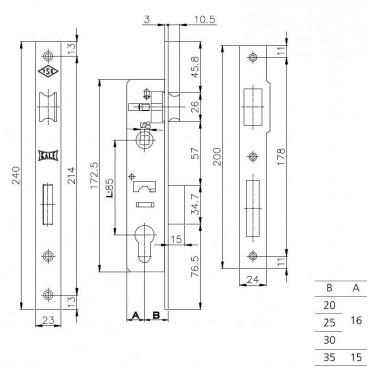 Корпус замка врезного цилиндрового узкопроф. Kale 153 (35 mm) w/b (никель)