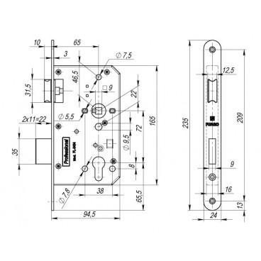 Замок для противопожарных дверей Fuaro FL-0434