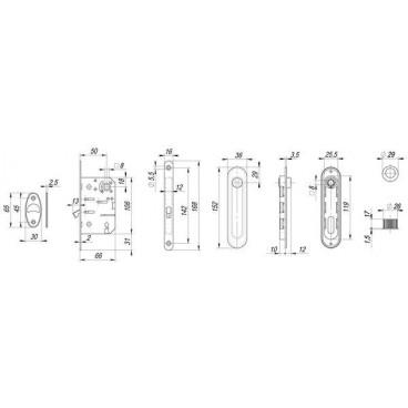 Набор для раздвижных дверей SH011-BK SN-3 Матовый никель