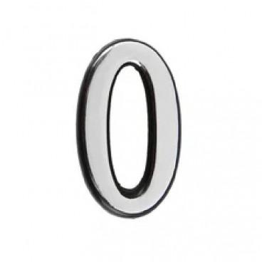 Большая пластиковая самоклеящаяся цифра 0 (хром)