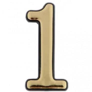 Большая пластиковая самоклеящаяся цифра 1 (золото)