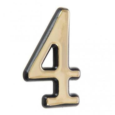 Большая пластиковая самоклеящаяся цифра 4 (золото)