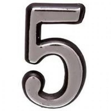 Большая пластиковая самоклеящаяся цифра 5 (хром)