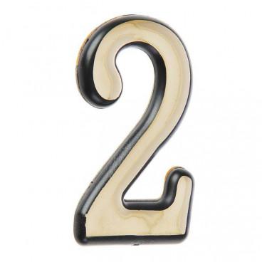 Большая пластиковая самоклеящаяся цифра 2 (золото)
