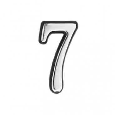 Большая пластиковая самоклеящаяся цифра 7 (хром)