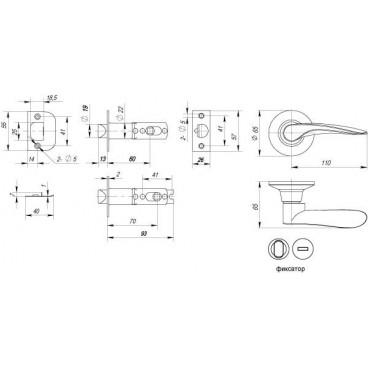 Ручка защелка 6020 CP-B (фик.) хром