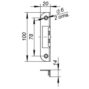 Ответная планка Fuaro 068 для дверей с притвором к замкам 2018 и 2014 WC/S-SN (матовый никель)