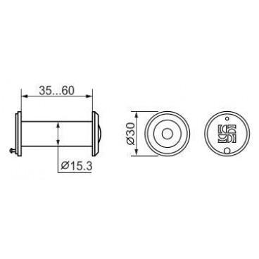 Дверной глазок Fuaro DVZ1, 16/200/35x60 GP Золото