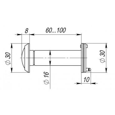 Глазок дверной Armadillo, стеклянная оптика DVG3 GP Золото
