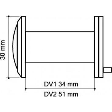 Глазок дверной, пластиковая оптика Armadillo DV2, 16/55х85 SN Мат. никель