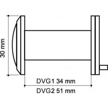 Глазок дверной, стеклянная оптика Armadillo DVG1, 16/35х60 AB Бронза