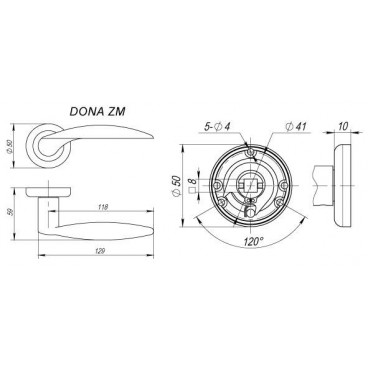 Ручка раздельная Dona ZM SN/NP-3