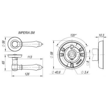 Ручка раздельная IMPERIA SM AB-7 матовая бронза