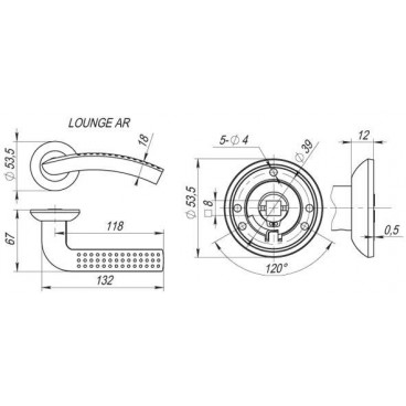 Ручка раздельная LOUNGE AR SN/CP-3 матовый никель/хром, квадрат 8x130 мм