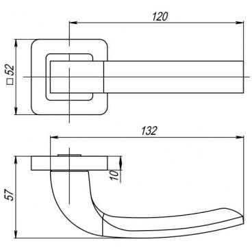 Ручка раздельная ORION QR SN/CP-3 матовый никель/хром