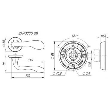 Ручка раздельная BAROCCO SM AB-7 матовая бронза