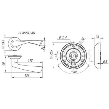Ручка раздельная CLASSIC AR CP-8 хром, квадрат 8x130 мм