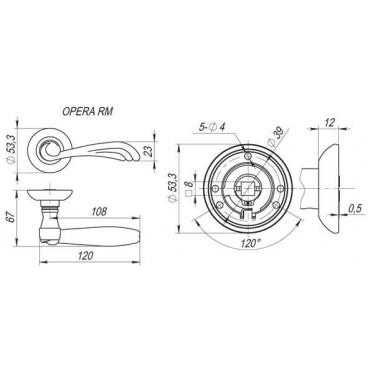 Ручка раздельная OPERA RM AB/GP-7