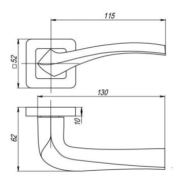 Ручка раздельная VESTA QR GR/CP-23 графит/хром