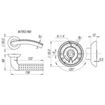 Ручка раздельная INTRO RM SN/CP-3