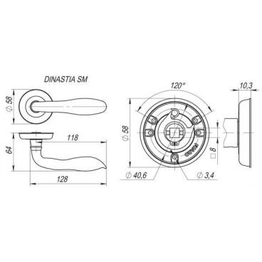 Ручка раздельная DINASTIA SM AB-7 матовая бронза