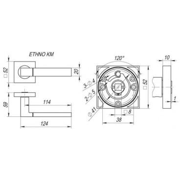 Ручка раздельная ETHNO KM SN/CP-3
