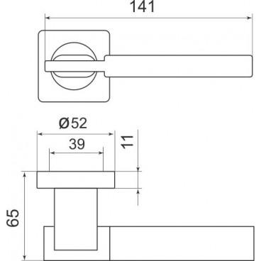 Ручка раздельная TRINITY SQ005-21CP-8 хром