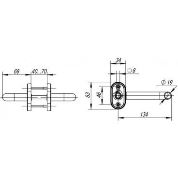 Ручка раздельная DSS-0203P/19 (нержавейка), квадрат 8x140 мм