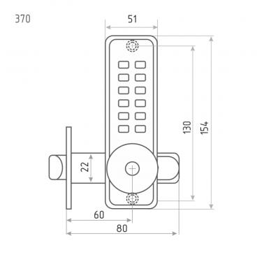 Кодовый замок Нора-М 370 (хром) с фиксатором
