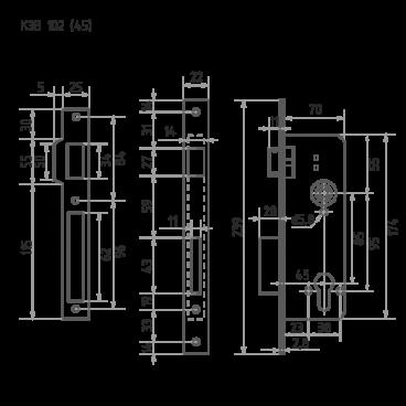 Защелка межкомнатная Нора-М КЗВ-102 (85 мм) - латунь, бексет 40 мм