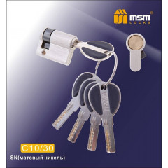 Цилиндровый механизм MSM (Полуцилиндр) (30-10) ключ-ключ никель
