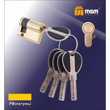 Цилиндровый механизм MSM (Полуцилиндр) (30-10) ключ-ключ латунь