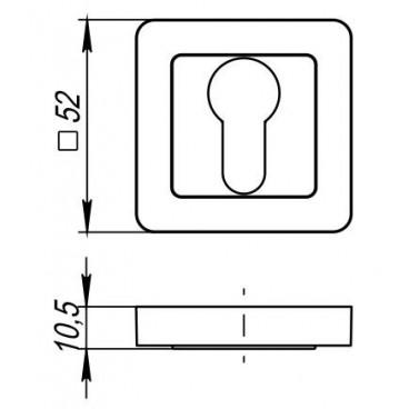 Накладка под цилиндр ET QR GR/CP-23 графит/хром