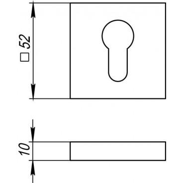 Накладка под цилиндр ET DM SN/CP-3 матовый никель/хром