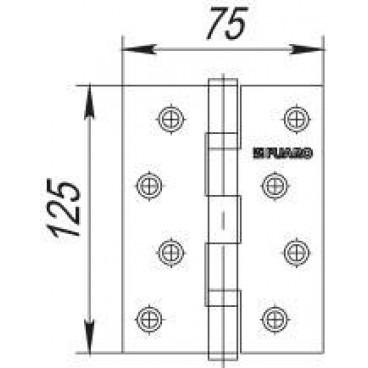 Петля универсальная 2BB 125x75x2,5 PN (перл. никель)