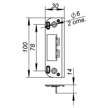 Ответная планка 045 для дверей без притвора к замкам 2018 и 2014 WC/S -CP (хром)