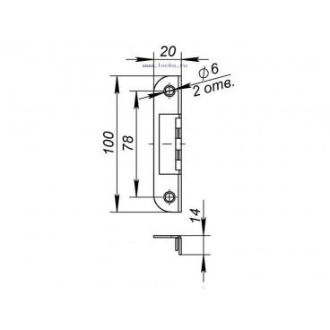 Ответная планка 068 для дверей  с притвором к замкам 2018 и 2014 WC/S-CP (хром)