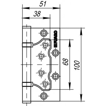 Петля универсальная без врезки 500-2BB/BL 100x2,5 PN (мат. никель) БЛИСТЕР