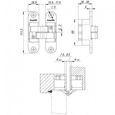 Петля скрытой установки с 3D-регулировкой Architect 3D-ACH CP-8 Хром лев. 60 кг