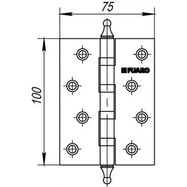 Петля универсальная 4BB/A/BL 100x75x2,5 AB (бронза) БЛИСТЕР