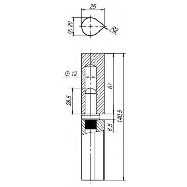 Петля приварная Т1254/140х20x25 мм с подшипником