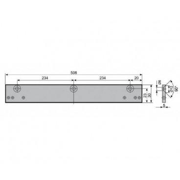 Mонтажная пластина ASSA-ABLOY A130 silver для скользящей тяги DCG195