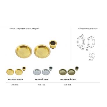 Ручки для раздвижных дверей Morelli MHS-1 SG матовое золото