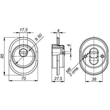 Броненакладка врезная с чашкой Fuaro DEF 9726 M6x90  CP-8 хром